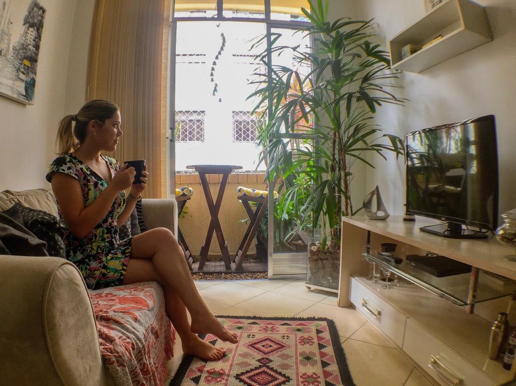 Sala do apartamento alugado por Airbnb